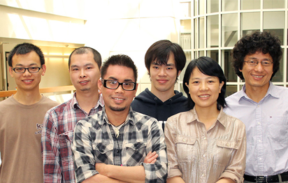 Authors of the new Science paper, whose findings have potential applications in drugs for cancer, infectious disease and Alzheimer's, include (left to right): Suhua Li, Youqian Deng, Brian Laforteza, Jian He, Haiyan Fu and team leader Jin-Quan Yu. (Photo by Cindy Brauer.)