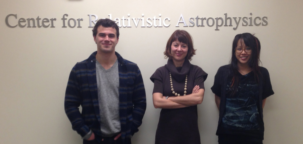 Group members involved in investigation of tidal disruptions of stars by black holes are an undergraduate student Forrest Kieffer (left), postdoctoral researcher Roseanne Cheng (right) and Tamara Bogdanović, (center). The group is based at the Center for Relativistic Astrophysics at the Georgia Institute of Technology in Atlanta, GA.