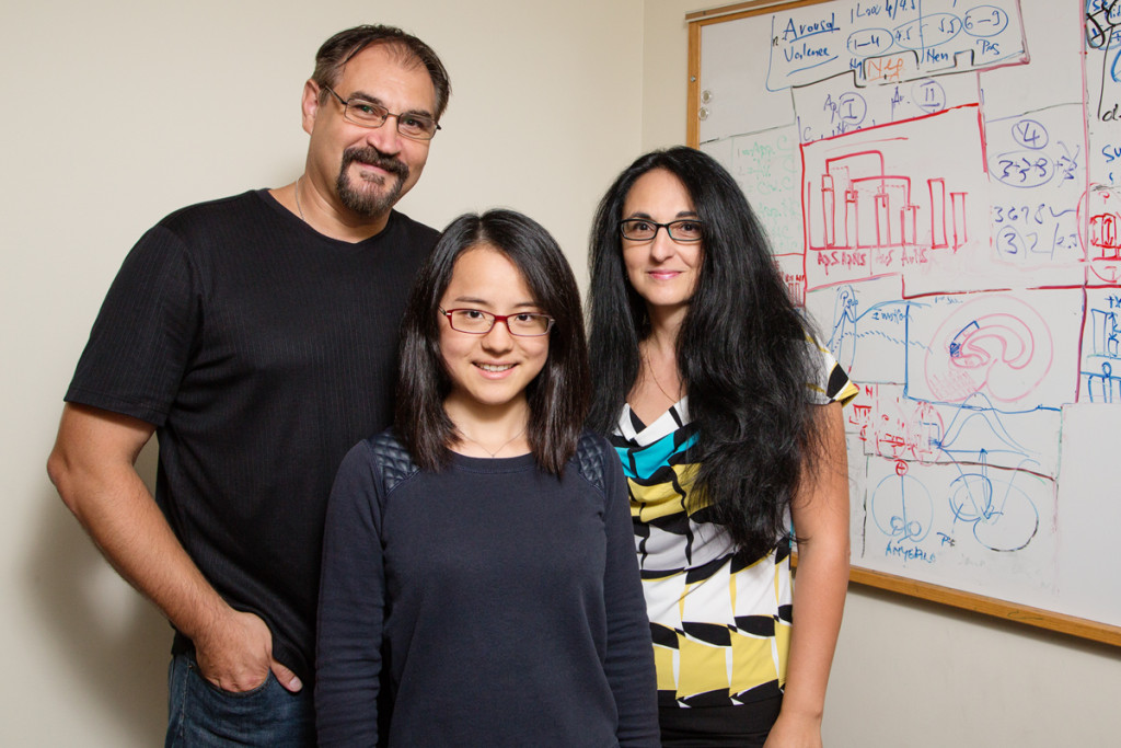 from left: Florin Dolcos, professor of psychology; Yifan Hu, graduate student; and Sanda Dolcos, post-doctoral research associate